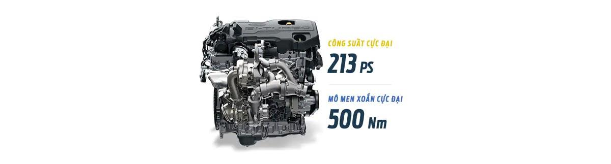 Động cơ Bi-Turbo 2.0L với hộp số tự động 10 cấp.